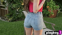 Sexy big ass teen Emily Bloom showed her nice shaved pussy after passion posing action