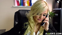 Busty blonde Katy Jayne bangs in her office