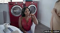 Image: Ebony married couple fuck their little white teen maid
