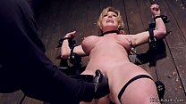 Busty Milf in bondage caned and clapmed