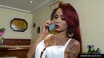 Tattooed Transsexual Nicolly Pantoja Enjoys a Machine Fucking Her Ass