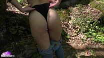 Babe Masturbates Pussy While Walking In Forest - Naked on Street