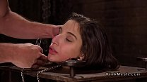 Brunette sub in pillory gets anal banged