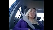 Delicious Blonde fingering and flashing in a car