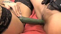 Horny Girls Tia l. & Louise Kay Plays With Cucumber