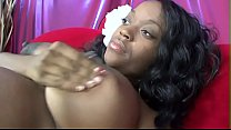 Ebony pragnany bitch Vanessa Rain takes hard cock in her pussy on her couch thumbnail