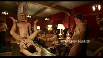 Gay man thrown over a table naked