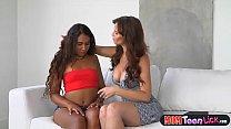 Stepmom Syren Demer licks dark skinned latina t...