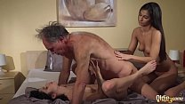 Old Young Porn Teens share old man and ride his wrinkled cock swallow cum video