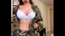 DanyanCat and her huge tits in camouflage