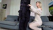 Good looking blonde bangs fake cop home Preview