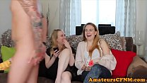 7486 British CFNM babe shares cock with friends preview