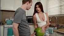 My stepsister catches me fucking a watermelon and then she wants to give me a blowjob