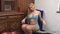 Sexy blonde tranny hottie stripping and jerking off
