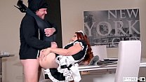Redhead maid Isabella Lui catches thief in the act before anal fuck thumbnail