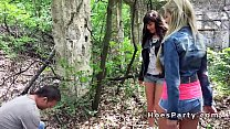 Two hot amateur babes fucking at picnic