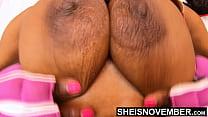 Seductive Ebony Bomb Shell Giant Nipples Big Areolas Fat Bosom On Tiny Attractive Girl Msnovember Squeezing Titties Closeup Saggy Natural Boob 4k Sheisnovember صورة