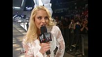 Trish Stratus walking out in white lingerie