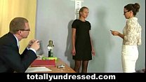 Hot blonde in stockings getting totally undressed
