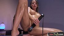 Busty solo milf squirts while machine fucked
