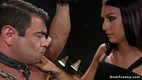Big male slave anal fucked by shemale