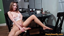 Sexy Dirty Blonde Milf Kerra in Nude Pantyhose Playing With Her Pussy