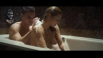 Sexy woman twat licked and sucking off on soapy bathtub
