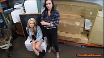 Busty lesbian couple agrees to suck cock for extra money