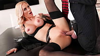 Office Table Fucking for Sarah Jessie's Pierced Cunt