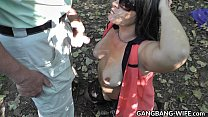 7659 Wife swallows pee and cum from many guys at the highway preview