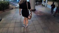 Sara Blonde walking through the shopping center...