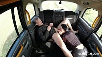 Amazing brunette tells the driver about her sel...