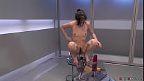 Brunette machine fucked in pile driver