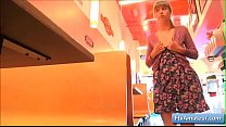 Hot amateur teen Alana finger her juicy pussy in a diner