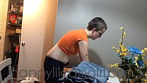 Short Hair Girl Ignores You While Folding Laund...