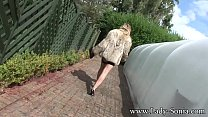 Lady Sonia Stripping Outdoors At Birch Manor thumbnail