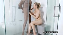 Big black cocking wet big tit MILF in shower