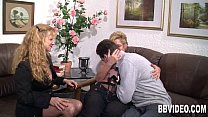 girl fuck video: German milfs suck and fuck a hard dick thumbnail