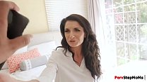 Stepmom Silvia sucks stepson huge cock