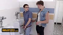 Nerdy Teen Boy With Gasses Gets Surprised And Pounded Hard In The Bathroom By The Class Bully