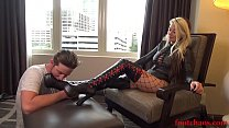 Davina Dark being worshiped in leather boots - FootChaos.com
