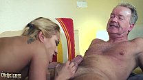 Old Man Dominated by sexy hot babe in old young femdom hardcore fucking image