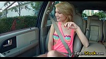 blonde teen girl feels naughty and touches guy
