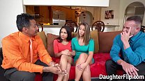 Nicole Bexley is taken into the bedroom and fuck hard as part of a deal made with her stepdads friend.