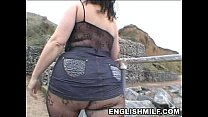 Big butt English milf in bodystocking public ass