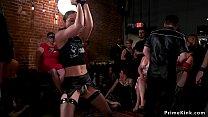 Brunette slaves ride bbc in orgy