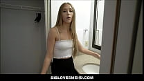 Little Blonde Teen Step Sister Stuck in Sink And Fucked By Step Brother POV thumbnail
