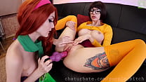 Velma and Daphne use dog dildo