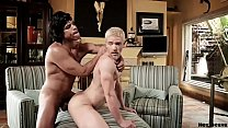 Latin man with huge cock making love to blonde bitch
