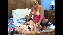 Lesbian Liisa takes a strapon from curvy Brooke